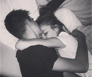 bed, cuddle, and forehead image