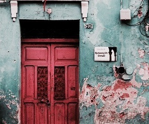 pink, teal, and door image