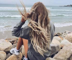 hair, girl, and beach image