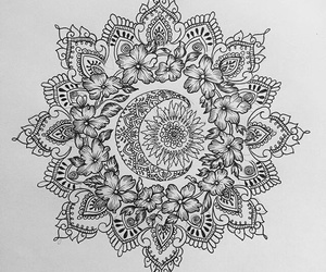 drawing, flowers, and mandala image