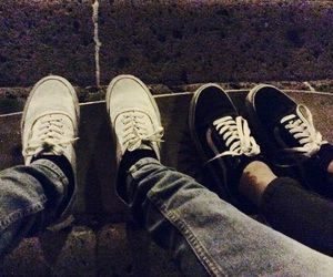 black and white, night, and vans image