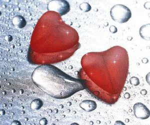 heart, red, and water drops image