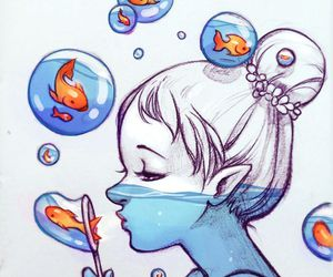 fish, girl, and art image