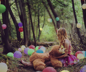 girl, balloons, and bear image