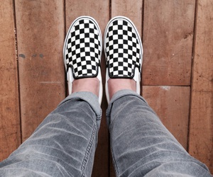 black and white, checkerboard, and sneakers image