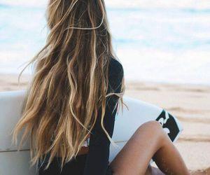 beach, surf, and hair image