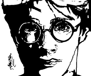 art, blackandwhite, and harrypotter image