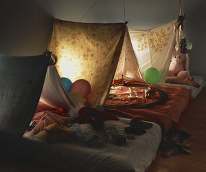 tent, bed, and light image