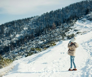 beautiful, little girl, and snow image