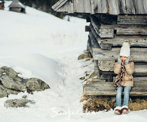 little girl, snow, and cute image