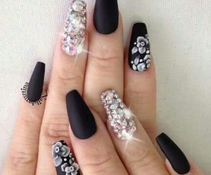 coffin, nails black, and fashion image