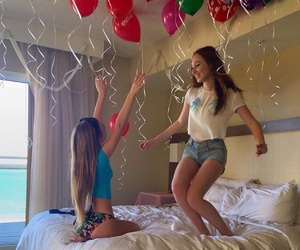 balloons, beach, and bed image