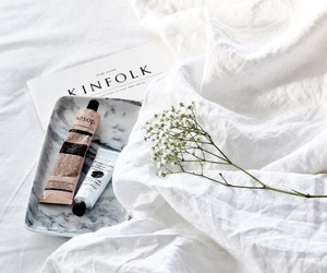 white, flowers, and bed image