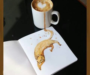cat, coffee, and drawing image