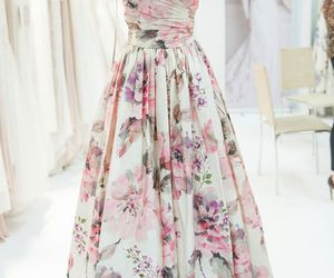 dress, floral, and flowers image