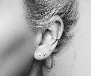 beauty, earrings, and black and white image