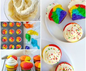 cooking, cream, and rainbow image