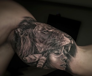 arm tattoo, lion, and tattoo image