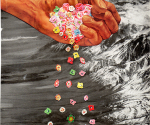 Collage, flowers, and hand image