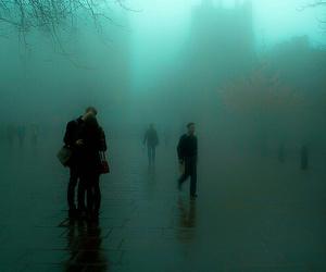 grunge, couple, and fog image