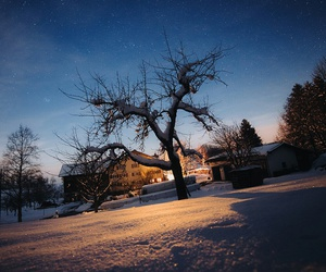 house, night, and snow image