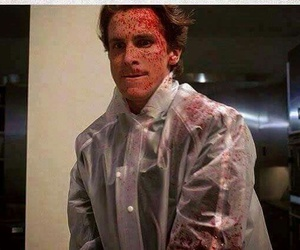 american psycho, christian bale, and blood image