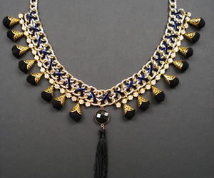 blue, gold, and necklace image