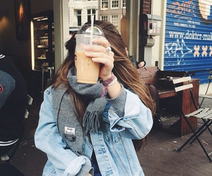 girl, coffee, and outfit image