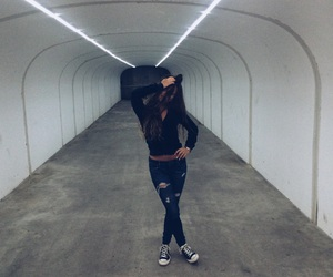 tunnel, girl, and grunge image