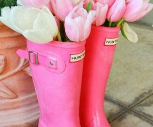 flowers, tulips, and boots image