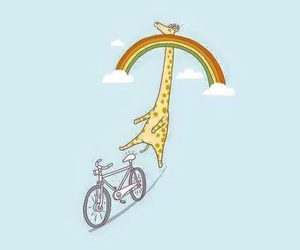 giraffe, wallpaper, and rainbow image