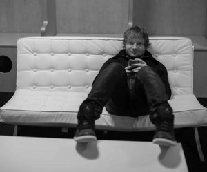 ed sheeran and black and white image