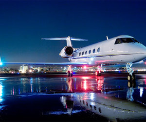 airplane, night, and luxury image