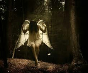 angel, swing, and fallen image