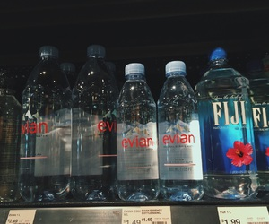 aesthetic, blue, and bottled water image