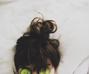 girl, hair, and cucumber image
