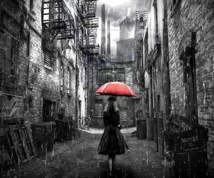 girl, rain, and red image