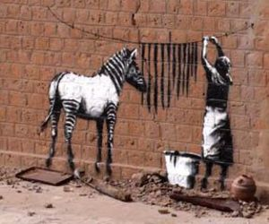 zebra, art, and BANKSY image