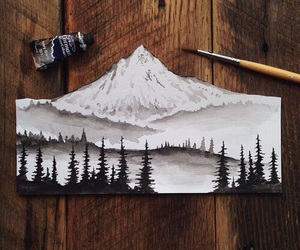 art, mountains, and paint image