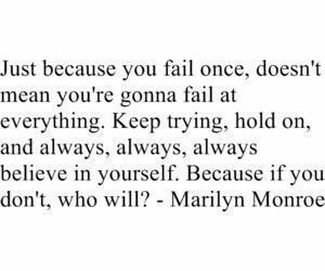 quote, Marilyn Monroe, and fail image