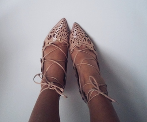 lace-up, louboutin, and nude heels image