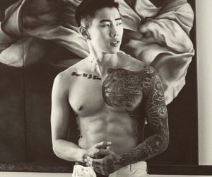 abs, korean, and black and white image