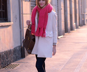 fashion, girl, and pink scarve image