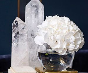 crystals, flowers, and glass image