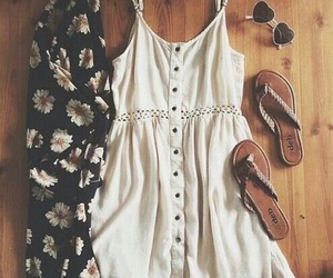 dress, glasses, and sandals image
