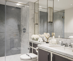 bathroom, grey, and glass image