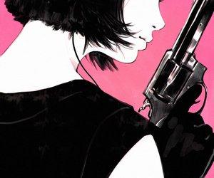 gun, pink, and art image