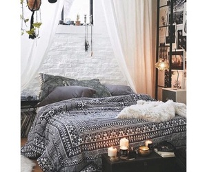 room, bedroom, and candle image