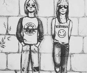 art, axl rose, and kurt cobain image