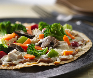 Chicken, pizza, and vegetables image